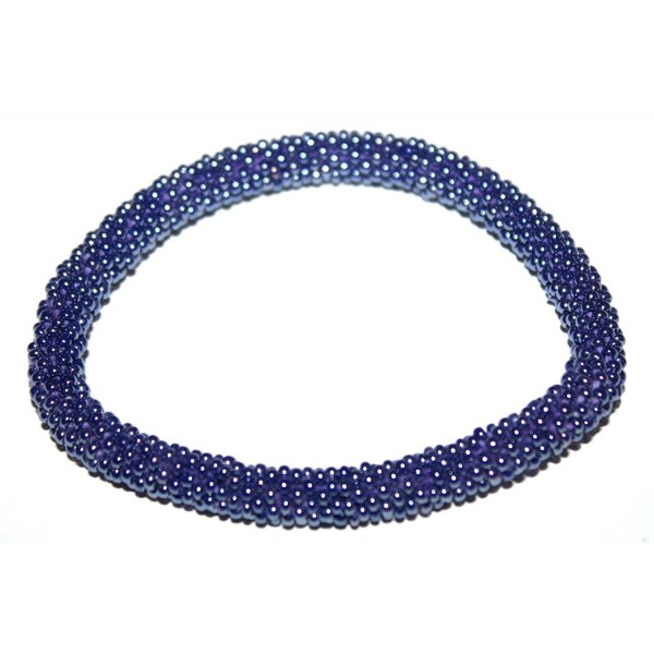 Crochet Glass Seed Bead Bracelet Roll on Bracelet Nepal Bracelet - CK127XRNY5H