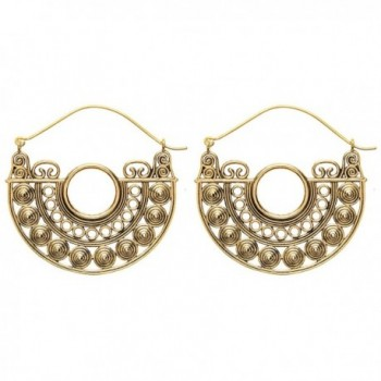 81stgeneration Women's Brass Gold Tone Circle Filagree Creole Indian Ethnic Tribal Earrings - CJ12LJ0GIJN