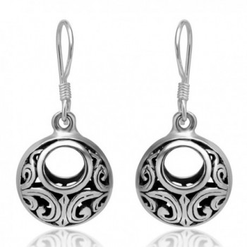 925 Oxidized Sterling Silver Bali Inspired Open Filigree Circle Dangle Hook Earrings - C2113F4EEON
