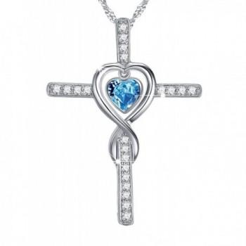 Infinity Birthstone Aquamarine Anniversary Girlfriend - Aquamarine Love Infinity God Cross Necklace - CE180KK2AZQ