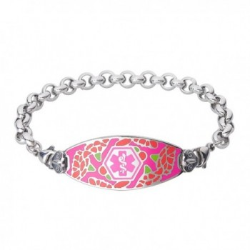 Divoti Custom Engraved Graceful Carnation Medical Alert Bracelet -Elegant Rolo Stainless -Pink - CS12FVKGLWB