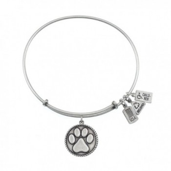 Wind and Fire Paw Print Charm Bracelet in Silvertone - CP11IVJY7AR