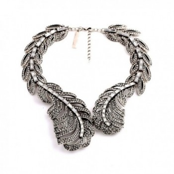 Charm.L Grace Jewelry Silver Tone Vintage Big Feather Collar Statement Necklace - CT11V7VY6E9