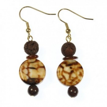 I Need My Coffee! Genuine Coffee Agate Earrings with Volcanic Stone Accents- 1.75 Inches - CR11JKGA92F