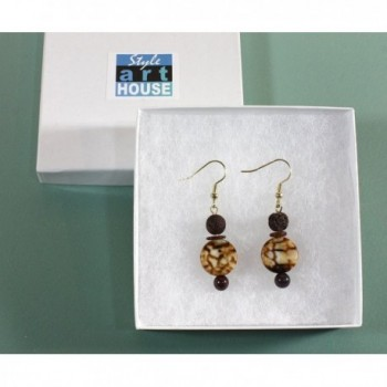 Coffee Genuine Earrings Volcanic Accents