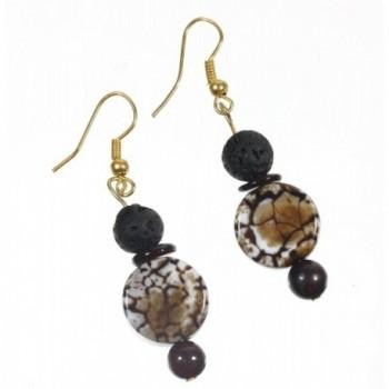 Coffee Genuine Earrings Volcanic Accents in Women's Drop & Dangle Earrings