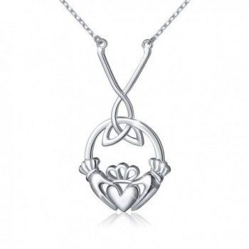 S925 Sterling Silver Celtic Love by Kelly Hands Holding Crown Heart Claddagh Pendant Y Necklace - CP185LALX5L
