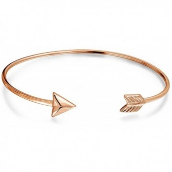 Bling Jewelry Rose Gold Plated Silver Adjustable Arrow Stackable Bangle - CH128B6KQ2D