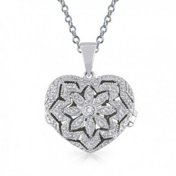 Bling Jewelry Vintage Style Filigree Pave Heart Locket Pendant Sterling Silver Necklace 18 Inches - CR115F3I5Z1