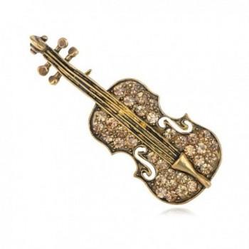 Alilang Yellow Golden Tone Light Brown Rhinestones Violin Instrument Brooch Pin - CO114V6A6H7