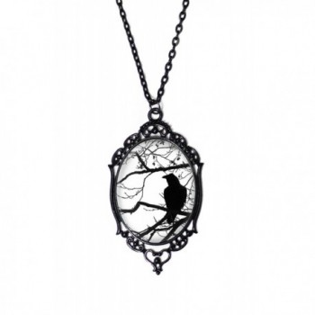 """Black & White Raven and Tree Cameo Necklace with Black Antique Frame on 18"""" Chain - CX122O6NBUF"""