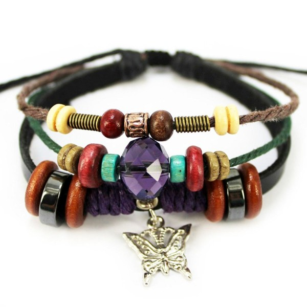 Wild Wind (TM) Sliver Butterfly Pendant Rhinestone Red Bead Wood Adjustable Totem Lovely Wrap Bracelet - CJ1218Z4V6B