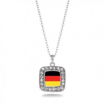 German Germany Flag Charm Classic Silver Plated Square Crystal Necklace - CT11MCHVHS5