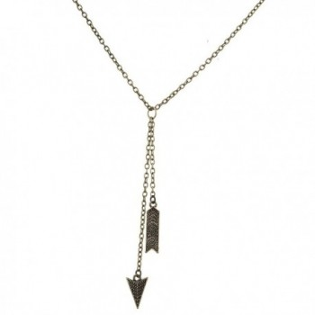 Lux Accessories Boho Burnished Gold Arrow and Spike Lariat Sexy-Y Necklace - CQ12MS3BRXR