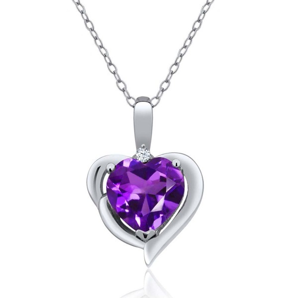 1.42 Ct Heart Shape Purple Amethyst White Topaz 925 Sterling Silver Pendant with 18 Inch Silver Chain - CB128Z08UNR