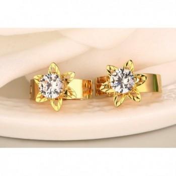 Womens Stainless Diamond Solitaire Earrings in Women's Hoop Earrings
