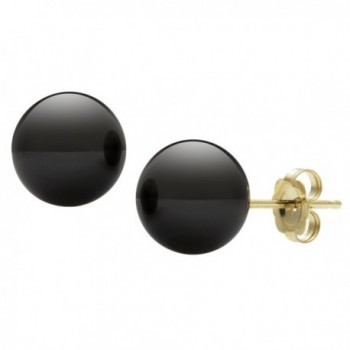 14k Yellow Gold Natural Black Onyx Round Unisex Stud Earrings - CL114CI79SJ