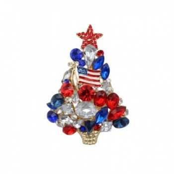 MC Patriotic American USA Flag Themed Christmas Tree Pin Brooch Gold Plated - CK125XKZT1X