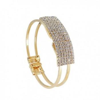 Lisingtool Women's Elegant Bangle Bracelet - Crystal Cuff Bling Gift - Gold - CE12G1YHETF