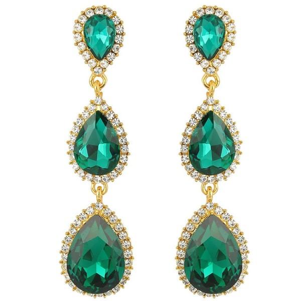 EleQueen Women's Gold-tone Austrian Crystal Teardrop Pear Shape 2.5 Inch Long Earrings - Emerald Color - CK11XTE249V