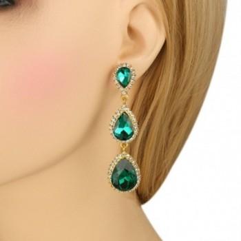 EleQueen Gold tone Austrian Teardrop Earrings in Women's Drop & Dangle Earrings