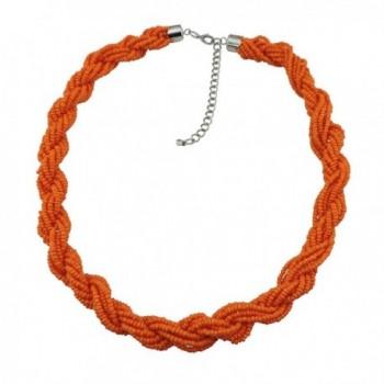 BOCAR Fashion Seed Beads Statement Collar Necklace - orange - C3182XICITL