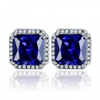 BONLAVIE 925 Sterling Silver 10mm Round Cut Clear Cubic Zirconia & Created Sapphire Halo Stud Earrings - Blue - C212IA8LL89