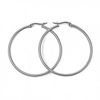Polished Stainless Steel Hoop Earrings - 25mm - C411BJ9ATT9