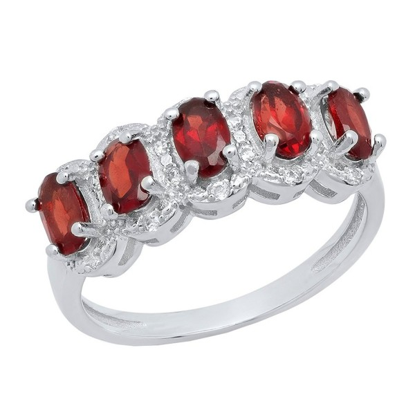 Sterling Silver 5X3 MM Oval Cut Garnet & Round Diamond Accent Ladies 5 Stone Bridal Engagement Ring - CE184G9SYWG