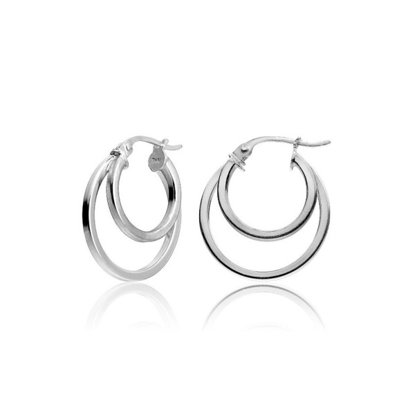 Hoops & Loops Sterling Silver Double Circle Round-Tube Polished Hoop Earrings- 15mm - CJ12I6T3WHL