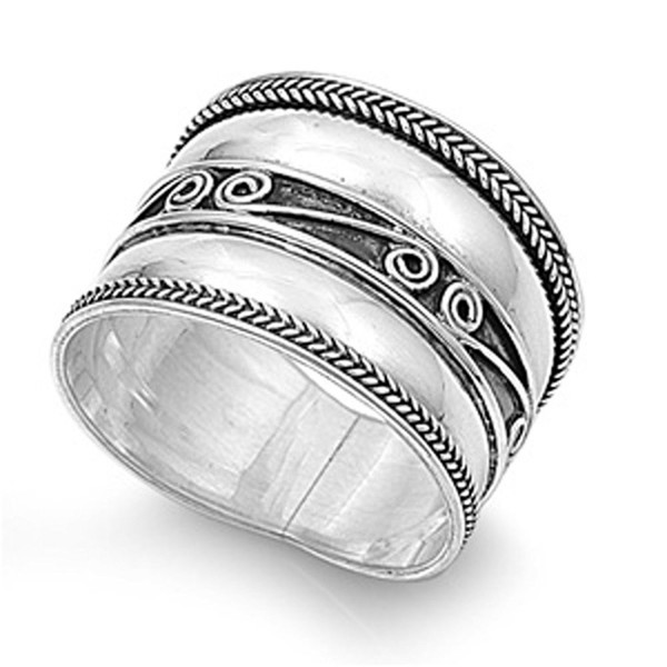 Sterling Silver Women's Bali Rope Ring Wide 925 Band Swirl Oxidized Sizes 6-12 - CM122TJKOB1