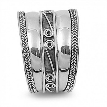 Sterling Silver Womens Swirl Oxidized