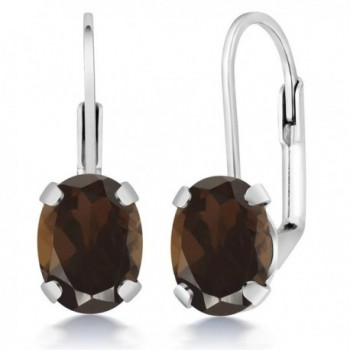 2.40 Ct Oval Brown Smoky Quartz Silver Plated Brass Lever Back Earrings - C111788KZ5T