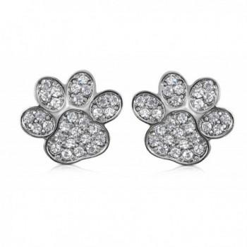 Sparkling Crystal Kitten Animal Earrings - Silver Tone - CI119DJRNYH