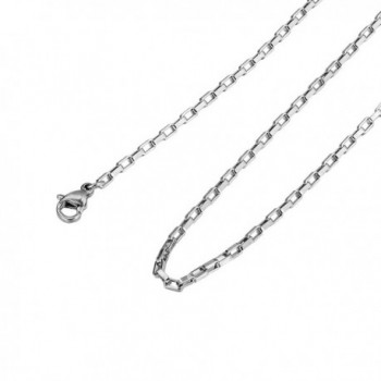 "HooAMI Stainless Steel Cable Box Chain Necklace Sliver Tone (20"" - 24"" Available) - stainless steel-2mm - CP12BB05TY1"