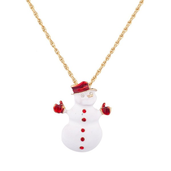 Lux Accessories Frosty The Snowman Xmas Christmas Pendant Necklace - C711WWOIZ29
