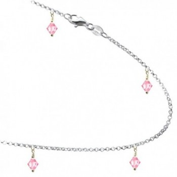 Rose Colored Pink Crystals with .925 Sterling Silver Link Anklet- Bracelet. 7-8-9-10-11-12-13 Inches - C912DCY9QAV
