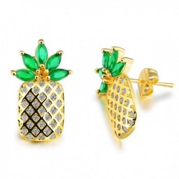 LOHOME Fashion Earrings Gold Tone Pineapple Rhinestone Charm Studs Earring for Womens - Green - CH183KZA48Q