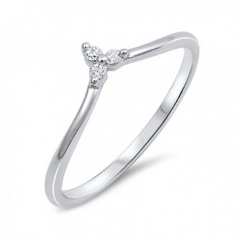 Unique Womens Cubic Zirconia .925 Sterling Silver V Shape Triangle Point Ring Band Sizes 4-10 - C01827RNEWX