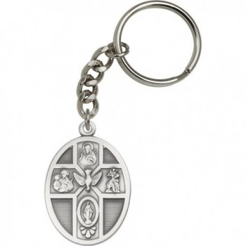 Antique Silver-Plated 5-Way / Holy Spirit Keychain 1 3/4 x 1 1/8 inches - CI11TVSB035