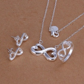 CY-Buity Korean Style Ring Necklace Exquisite Arabic Numeral 8 Shape 925 Silver Plated Jewelry Set - CH11IWUWCQ7