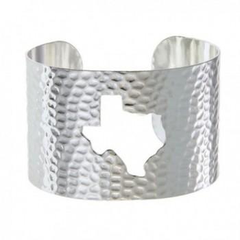 PammyJ State of Texas Silvertone Hammered Wide Cuff Bracelet - CW12EF7BEP5