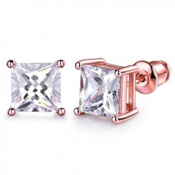 GULICX 7mm Stone Diamante CZ Square Pierced Studs Rose Gold Electroplated Earrings - CR17WYOIIO2