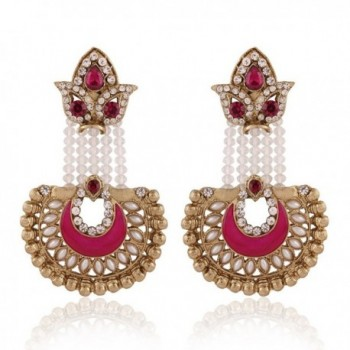 I Jewels Traditional Gold Plated Pearl Hanging Earrings for Women E2517Q (Rani/Dark Pink) - CC128TAFICD