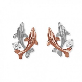 Sterling Silver with 14kt Rose Gold Plated Accents Double Dolphin Stud Earrings - C611CR4B1IT