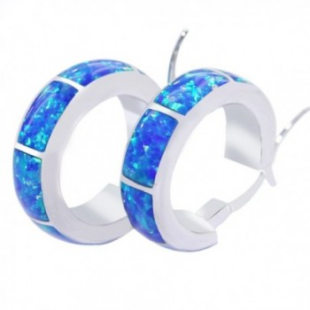UP LINK Women's Opal 925 Sterling Silver Platinum Plated Earrings Blue - CH124KS06PD