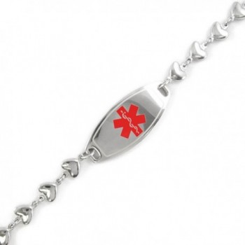 MyIDDr - Pre-Engraved & Customizable Blood Thinners ID- Medical Alert Bracelet- Heart Chain - CN11CK9L0P5