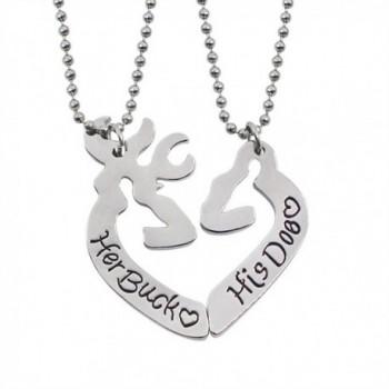 Her Buck&His Doe Heart Elk Split Deer Couple Engraved Lover Pendant Necklace - Her Buck&His Doe - C117Z3ARA0U