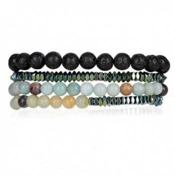 Powerful Amazonite- Hematite- Lava Stretch and Slider Set for Women | SPUNKYsoul Collection - C51876NDM2Y