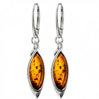 Honey Amber Sterling Silver Marquise-shaped Long Leverback Earrings - C1115VIX7QR
